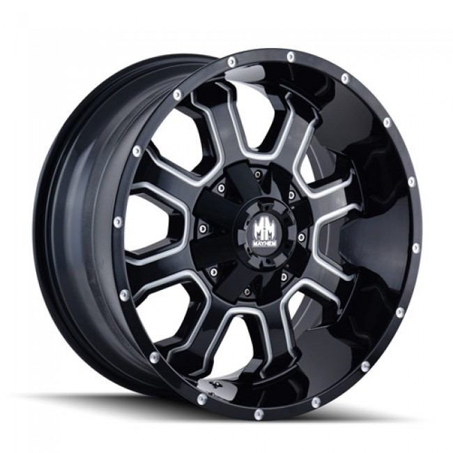 Mayhem 8103 Fierce Machiné Black / Noir Machiné, 17X9, 6x135/139.7 ,(déport/offset -12 ) 108