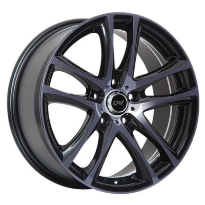 Dai Alloys GTS, Noir lustré - Façade machinée - Fini Foncé/Gloss Black - Machined Face - Smoked Clear, 17X7.5, 5x114.3 (offset/deport 45), 73.1