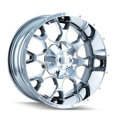 Roue Mayhem Warrior, chrome vaporise (17X9, 6x139.7, 108.1, déport -12)
