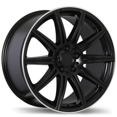 roue Replika Wheels R157, noir mat rebord machine (19X9.5, 5x112, 66.4, déport 45)