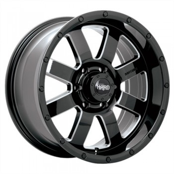 Dai Alloys Gear, Noir lustré - Rebord usiné/Gloss Black - Milled Edge, 20X9.0, 6x135 (offset/deport 20), 87.1