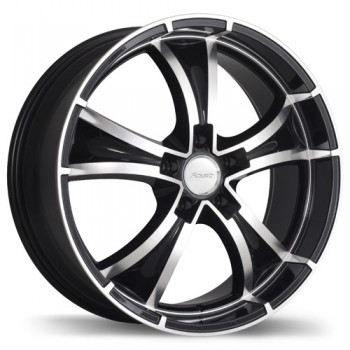 Fastwheels Raven Gloss Black with Machined Face/Noir lustré avec façade machinée, 18x8.0, 5x114.3 (offset/deport 45), 74