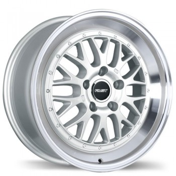 Fastwheels Cartel Gloss Silver with Machined Lip/Argent lustré avec rebord machiné, 17x7.5, 5x114.3 (offset/deport 45), 73