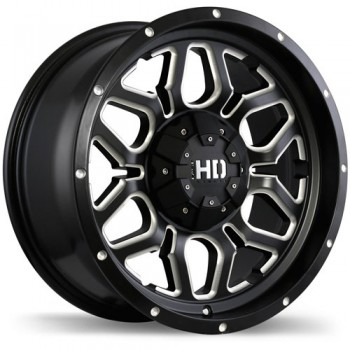 Fastwheels Rigg Matte Black with Milled Trim/Noir mat avec bordure fraisé, 20x9.0, 8x165.1 (offset/deport 20), 124.9