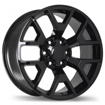 Replika R162 Gloss Black/Noir lustré , 20X9.0, 6x139.7 , (offset/deport 27 )Chevrolet