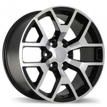 Replika R162 Gloss Black with Machined Face/Noir lustré avec façade machinée, 20X9.0, 6x139.7 , (offset/deport 27 )Chevrolet