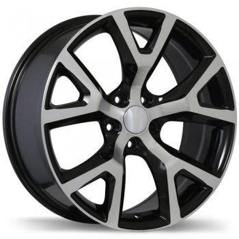 Replika R165 Gloss Black with Machined Face/Noir lustré avec façade machinée, 17X7.5, 5x110 , (offset/deport 31 )Jeep