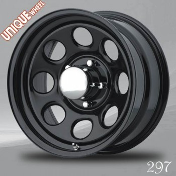 Unique Wheel 297, Noir/Black, 15X8, 5x114.3 ( offset/deport -12), 83.8