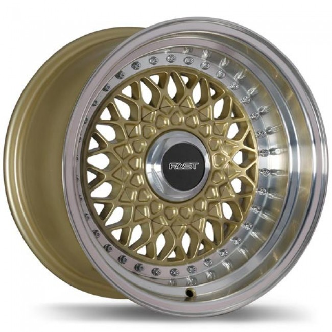 Fastwheels Royale Gold with Machined Lip/Or avec rebord machiné, 15x8.0, 5x100 (offset/deport 0), 72.6