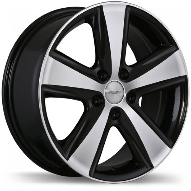 Fastwheels Blaster Gloss Black with Machined Face/Noir lustré avec façade machinée, 16x7.0, 5x114.3 (offset/deport 45), 64.1