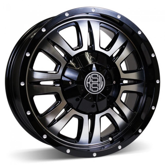 RSSW Heritage Machine Black / Noir lustré face machinée, 17X7.5, 5x139.7 ,(déport/offset 15 ) 77.8 Chevrolet / GMC