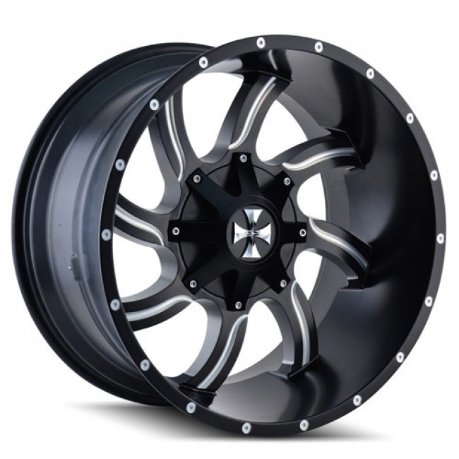 Calioffroad 9102 Twisted Machiné Black / Noir Machiné, 22X12, 5x127/139.7 ,(déport/offset -44 ) 87