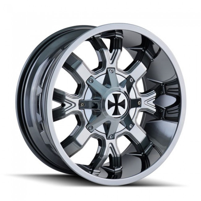Calioffroad 9104 Dirty Chrome / Chrome, 22X14, 8x180 ,(déport/offset -76 ) 124.1