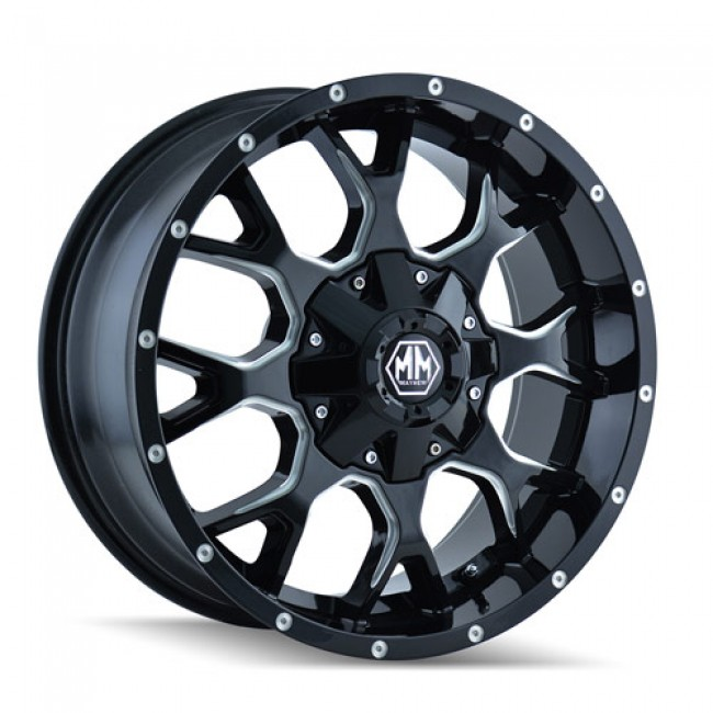 Mayhem 8015 Warrior Machiné Black / Noir Machiné, 20X10, 8x165.1/170 ,(déport/offset -25 ) 130.8