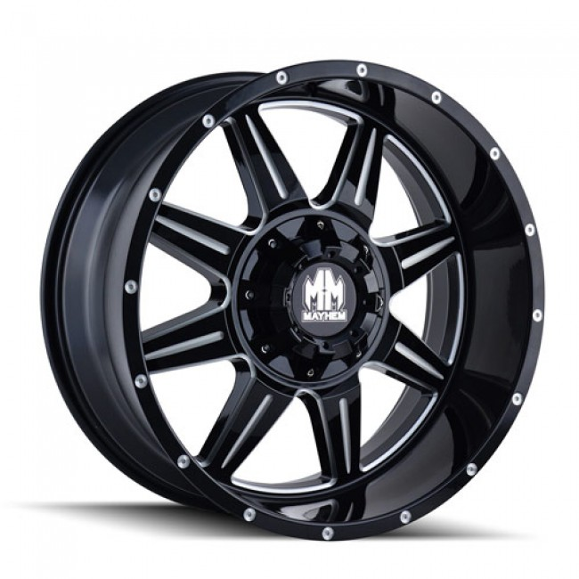 Mayhem 8100 Monstir Gloss Black Machine / Noir Lustre Machiné, 17X9, 8x165.1/170 ,(déport/offset -12 ) 130.8