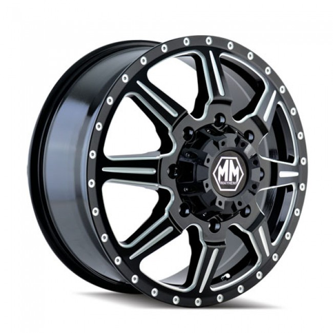 Mayhem 8101 Monstir Machiné Black / Noir Machiné, 20X8.25, 8x200 ,(déport/offset 127 ) 142