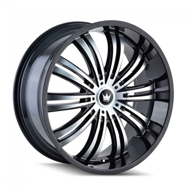 Mazzi 363 Swank Gloss Black Machine / Noir Lustre Machiné, 22X9.5, 5x127/139.7 ,(déport/offset 18 ) 87