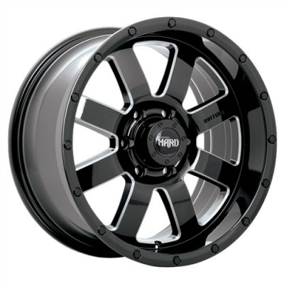 Dai Alloys Gear, Noir lustré - Rebord usiné/Gloss Black - Milled Edge, 18X9.0, 6x139.7 (offset/deport 20), 108.1