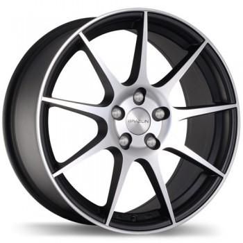 Braelin BR04, Matte Black with Machined Face/Noir mat avec façade machinée, 18X8.0, 5x100 (offset/deport 25), 56.1