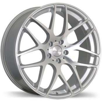 Braelin BR06, Gloss Silver with Machined Face/Argent lustré avec façade machinée , 19X8.5, 5x112 (offset/deport 25), 66.4
