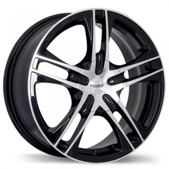 Fastwheels Reverb Gloss Black with Machined Face/Noir lustré avec façade machinée, 16x7.0, 5x115 (offset/deport 42), 73