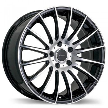 Fastwheels Rival Gloss Black with Machined Face/Noir lustré avec façade machinée, 15x6.5, 4x100 (offset/deport 40), 73