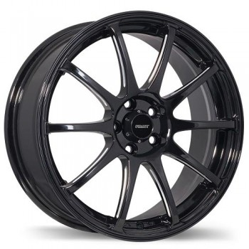 Fastwheels F182 Underground , 15x6.5 , 4x100 , (offset/deport 40 ) , 73 , Black With Milled Grooves/Noir avec des rainures usine