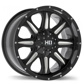 Fastwheels C4 Gloss Black with Milled Trim/Noir lustré avec bordure fraisé, 17x8.0, 5x120.65 (offset/deport 20), 78