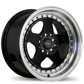 Fastwheels F199 Hippari , 15x8.0 , 5x114.3 , (offset/deport 28 ) , 73 , Black With Machined Lip/Noir avec rebord machine
