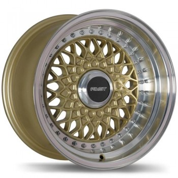 Fastwheels F200 Royale , 15x8.0 , 5x114.3 , (offset/deport 0 ) , 72.6 , Gold With Machined Lip/Or avec rebord machine
