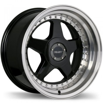 Fastwheels Kimura Gloss Black with Machined Lip/Noir lustré avec rebord machiné, 17x7.5, 5x114.3 (offset/deport 25), 72.6