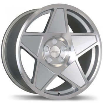 Fastwheels F209 Nineteen 80 , 18x9.0 , 5x108 , (offset/deport 25 ) , 72.6 , Silver With Gloss Machined Face/Argent avec facade machinee lustree