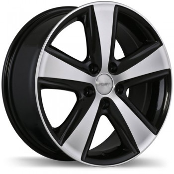 Fastwheels Blaster Gloss Black with Machined Face/Noir lustré avec façade machinée, 17x7.0, 5x110 (offset/deport 35), 65.1