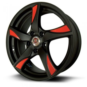 IXION IX003, Noir rouge/Black and Red, 16X7, 5x114.3 ( offset/deport 40), 73