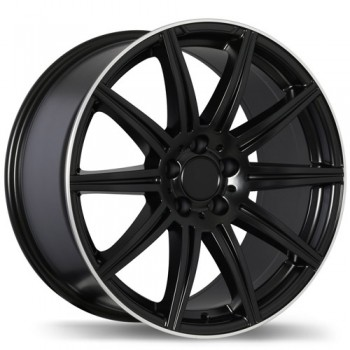 Replika R157 Matte Black with Machined Lip/Noir mat avec rebord machiné , 19X9.5, 5x112 , (offset/deport 45 )Mercedes