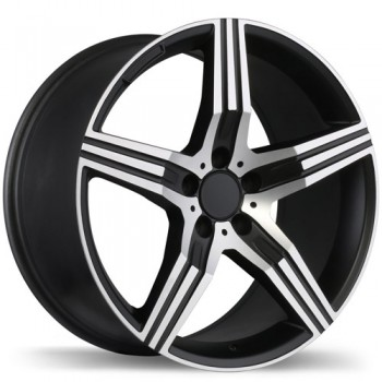 Replika R171 Matte Black with Machined Face/Noir mat avec façade machinée, 19X8.5, 5x112 , (offset/deport 45 )Mercedes