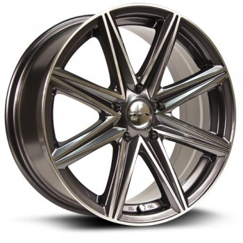 RTX Wheels Spur, Gris Gunmetal Machine/Machine Gunmetal, 16X7, 5x100 ( offset/deport 40), 73.1